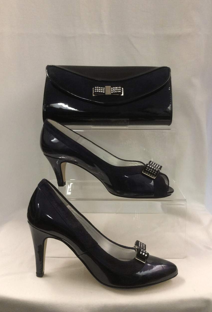 Cream of Royston: Shoes and Bags: Constellation Navy Patent