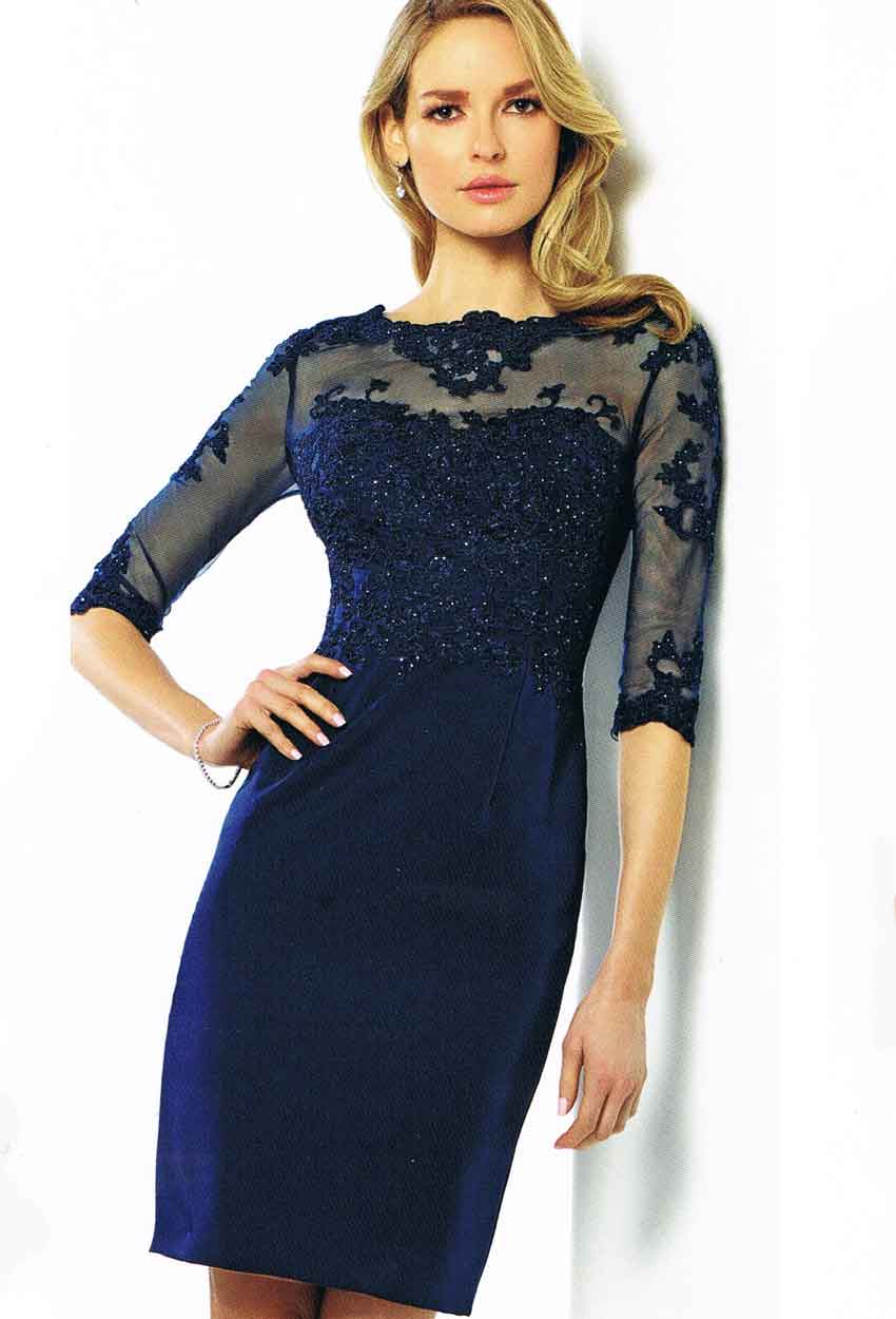 216878 Nacy Blue Stretch Crepe with Lace