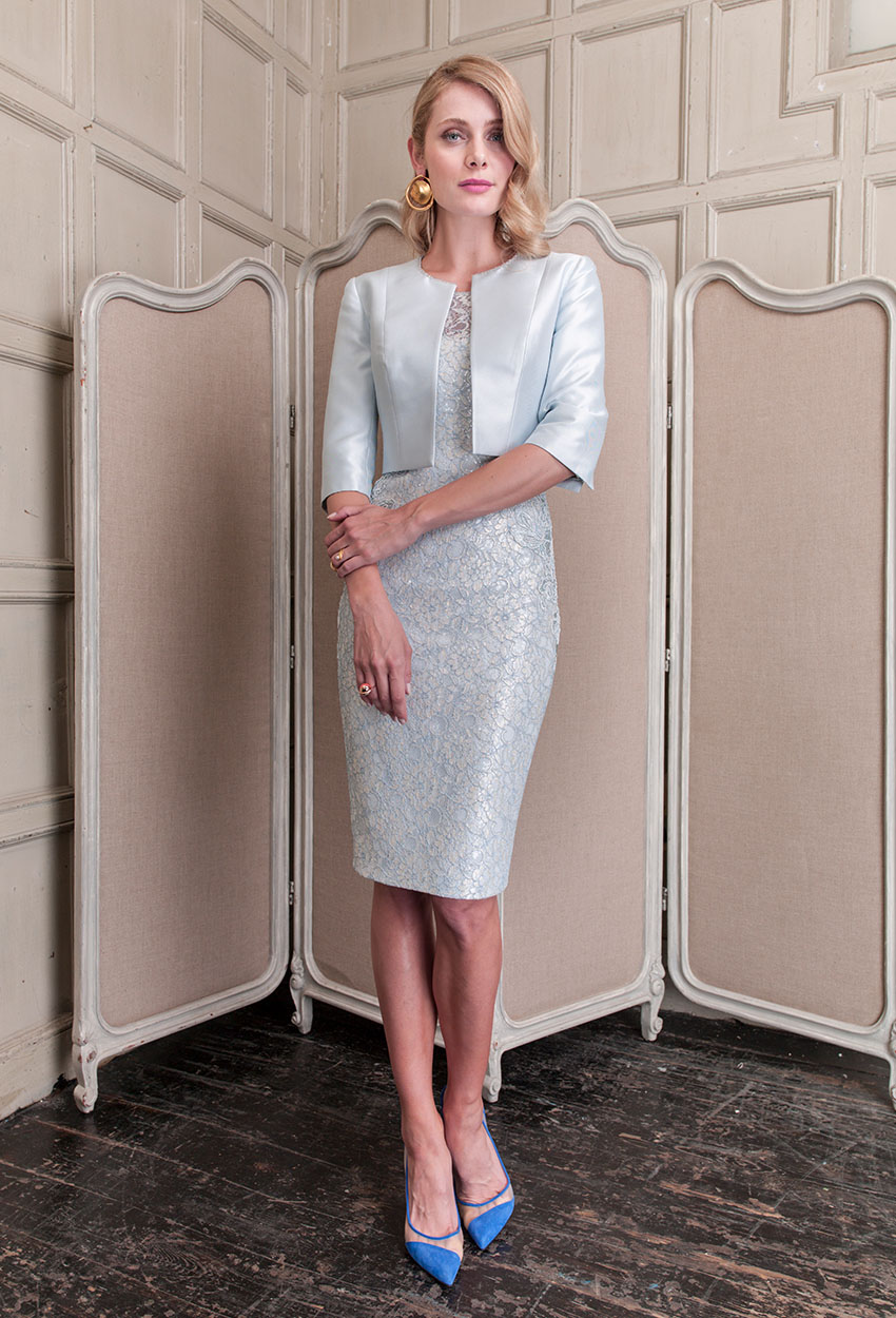 26450 - John Charles Ice Blue Dress and Jacket