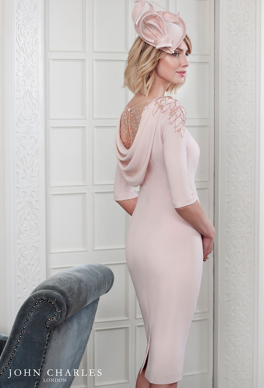 26586 - John Charles Blush Pink Cowl Back Dress