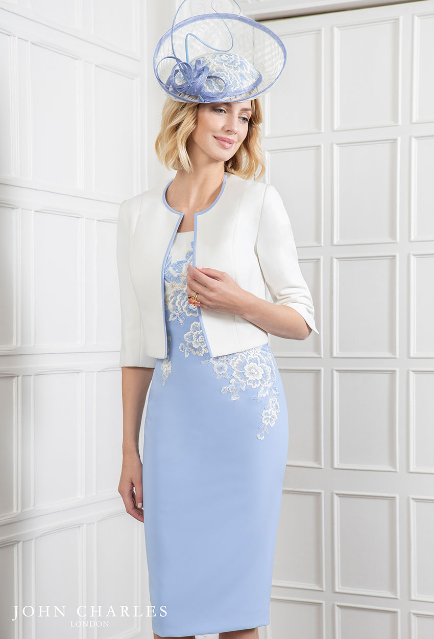 26609 - John Charles Blue Ivory Dress with Jacket
