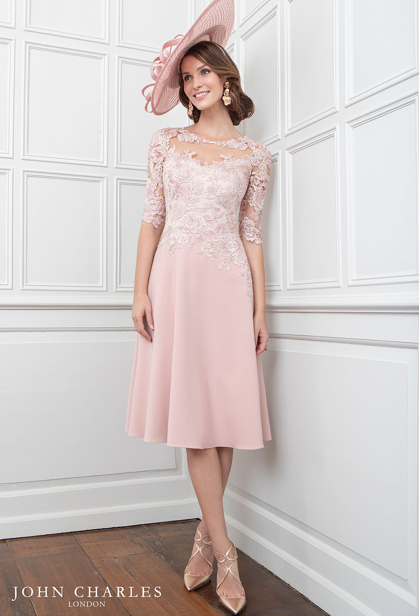 26641B - John Charles Dusty Pink Floral Lace Dress