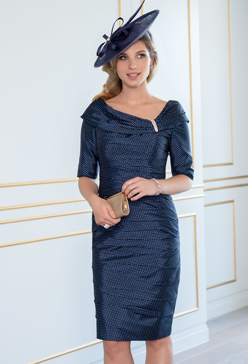 ISE830 -Navy/Shortbread Spot Ispirato Dress