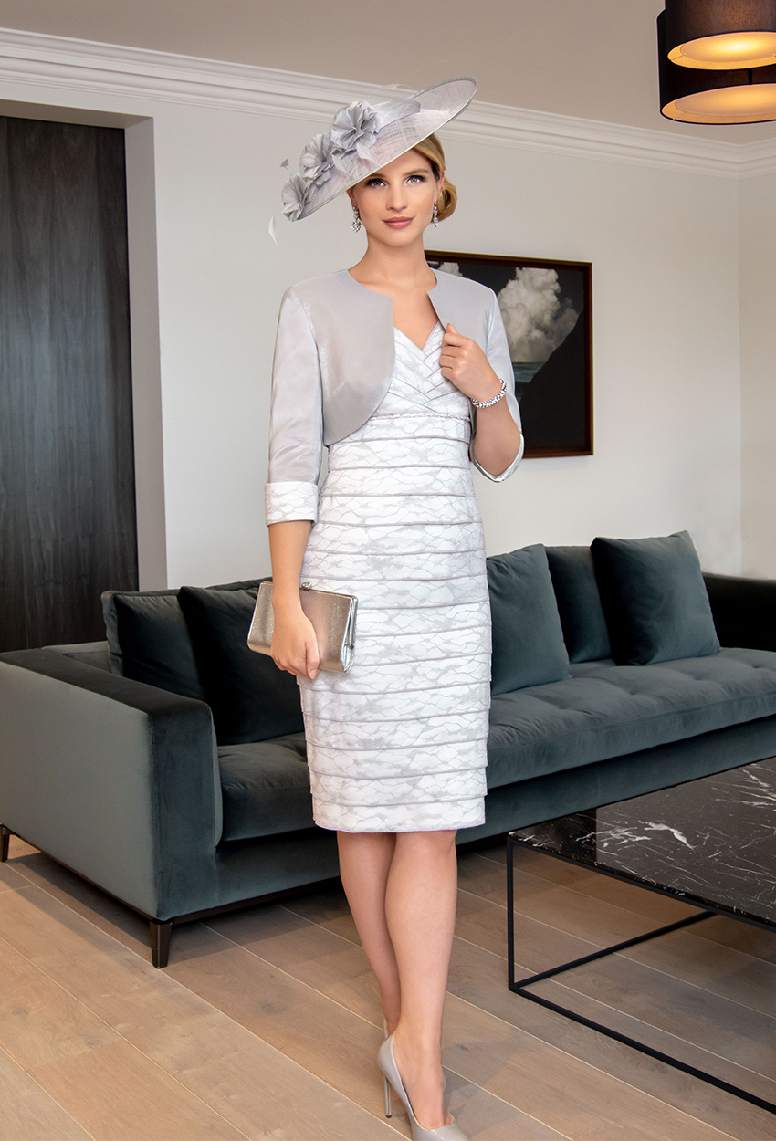 ISE932 Dove/Cream- Ispirato Dress and Jacket